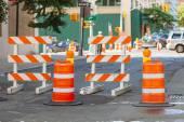 Roadwork signs on the Street — Stock Photo