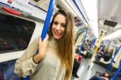 Beautiful Young Woman in London Tube — Stock Photo