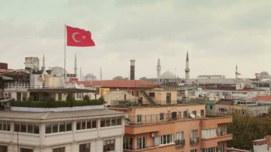 Turkish Flag and Istanbul Rooftops View — Stock Video