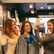 Happy Women with Credit Card in a Clothing Store  — Stock Photo #59240279