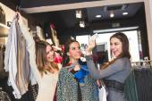 Happy Women with Credit Card in a Clothing Store  — Stok fotoğraf