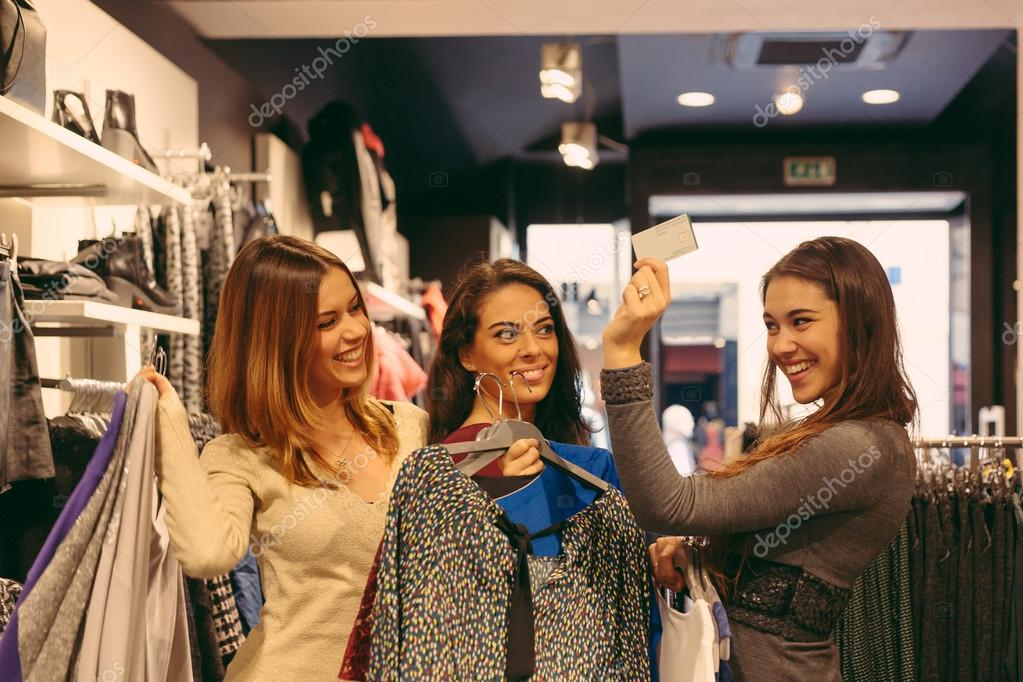 Purchase in a clothing store credit card stock photo