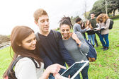 Multiethnic College Students at Park — Stock Photo