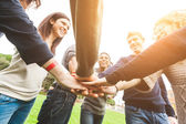 Multiracial Group of Friends with Hands in Stack, Teamwork — Stock Photo