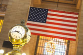 Clock and American Flag — Stock Photo