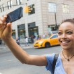Woman Taking Selfie in New York — Stock Photo #59615649