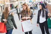 Women Walking with Shopping Bags — Stock Photo