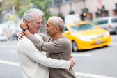 Gay Couple with Traffic on Background — Stock Photo