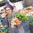 Young Woman Buying Vegetables at Local Market — Stock Photo #61713145