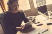 Young Woman Working at Home, Small Office — Foto Stock