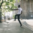 Black Boy Skating at Park and Falling Down — Stock Photo #61819917