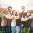 Multiethnic Group of Friends with Thumbs Up — Stock Photo #61919307