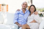 Beautiful Adult Couple Embraced Outdoor — Stock Photo