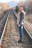 Woman Standing on Tracks. — Stock Photo
