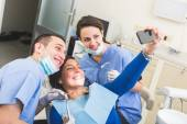 Happy Patient, Dentist and Assistant Taking Selfie All Together. — Stock Photo