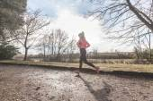 Young Woman Jogging on Off Road Path in the Morning. — Stock Photo