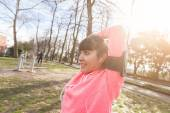Young Woman Doing Arms and Shoulders Stretching Exercises. — Stock Photo