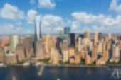 New York Downtown Aerial View. Blurred Background. — Stock Photo