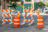 Roadwork signs on the Street. Blurred Background. — Stock fotografie