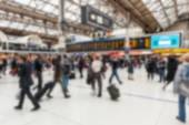 Crowded station during rush hour in London, blurred background — Stock Photo