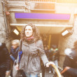 Young woman at tube exit in London — Stock Photo #68290713