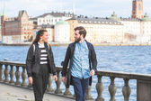 Young hipster couple visiting Stockholm — Stock Photo