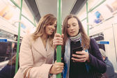 Two women commuting with tube in London. — Stock Photo
