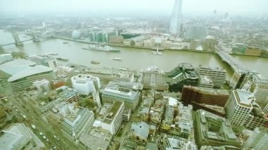 London with Tower Bridge and Thames river — Stockvideo