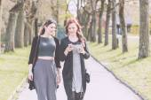 Nordic girls walking at park in Oslo — Stock Photo