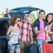 Four Friends Ready to Leave For Vacation — Stock Photo #74895687