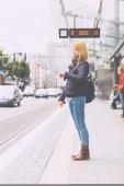 German Blonde Girl at Tram Stop in Bonn — Stock Photo