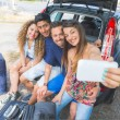 Group of friends taking a selfie before leaving for vacation — Stock Photo #77546406