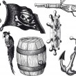 Pirate set attributes — Stock Vector #56722509