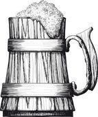 Ahşap bardak bira — Stok Vektör