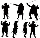 Pirate silhouettes — Stock Vector