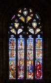 Stained-glass window in Seville cathedral, Spain — Foto Stock