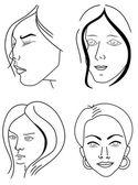 Set of woman faces — Stock Vector