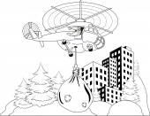 Santa Claus flying — Stock Vector
