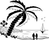 Couple at tropical beach with palm trees — Stock Vector