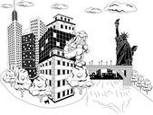 Santa Claus with urban skyline — Stock Vector