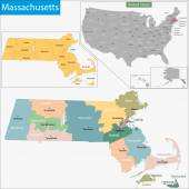 Massachusetts map — Stock Vector