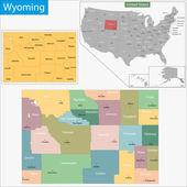 Mapa de Wyoming — Vetor de Stock