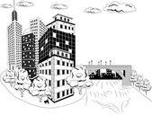 Cidade no rio — Vetor de Stock