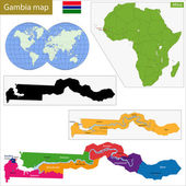 The Gambia map — Stock Vector