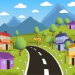 Rural landscape with small town — Stock Vector #69122745