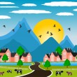 Rural landscape with small town in mountain — Stock Vector #70328065