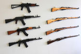 Firearms on the wall — Stock Photo