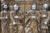 Part of carved wooden door — Stock Photo