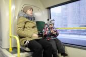 Mother with son in the bus — Foto de Stock
