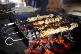 Fried meat over the coals — Stock Photo